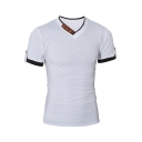 Mens New Stylish Button V-Neck Short Sleeve Cotton Slim T-Shirt