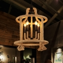 Industrial Chandelier 5 Light E14 Lighting with Rope Frame for Indoor Lighting