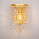 Hallway Clear/Amber Crystal Sconce Lighting Antique Style Brass Wall Light Fixture