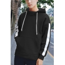 Guys Fashion Sport Casual Striped Long Sleeve Loose Fit Hoodie