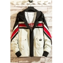Men's New Fashion Colorblock Stripe Printed Drawstring Hooded Flap Pocket Zip Up Jacket