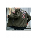 Guys Cool Badge Applique Stand Up Collar Zip Up Fitted Military Jacket