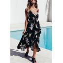 Women's Sexy V-Neck Sleeveless Floral Printed High Low Hem Maxi Slip Beach Dress