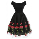 Retro Sexy Rose Embroidered Mesh Panel Zip-Back Midi A-Line Black Dress for Women