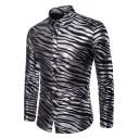 Popular Metallic Color Zebra Print Long Sleeve Mens Button-Up Shirt