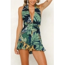 Sexy Folk Style Tropical Leaf Printed Sleeveless V Neck Cross Tied Back Green Romper