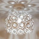 Black/White Globe Ceiling Lighting 1 Light Modern Style Metal Semi Flush Light with Clear Crystal for Bedroom