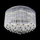 Antique Style Drum Ceiling Light with Clear Crystal 4/6 Lights White Fabric Flushmount Lighting for Living Room