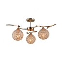 Globe Shade Bedroom Semi Flush Mount Light Clear Crystal 3-Light Contemporary Ceiling Lighting in Gold