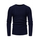Mens Basic Simple Plain Round Neck Long Sleeve Classic Cable Knit Leisure Fitted Knit Sweater