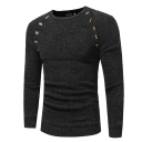 Fashion Button Patched Round Neck Long Sleeve Mens Plain Slim Sweater