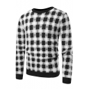 Mens Stylish Check Printed Basic Round Neck Slim Fit Fleece Sweater