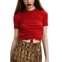 Trendy Solid Drawstring Ruched Front Crew Neck Short Sleeve Red Cropped Tee