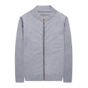 Basic Simple Plain Long Sleeve Zip Closure Fitted Cardigan for Men