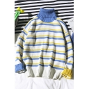 Guys Trendy Color Block Striped High Neck Long Sleeve White Pullover Sweater