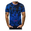 Summer New Stylish Camo Letter THE LOOK Print Mens Sport Fitness T-Shirt