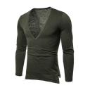 Summer Mens New Fashion Simple Plain Sexy V-Neck Long Sleeve Slim Fitness T-Shirt