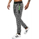 Men's New Trendy Snow Cloth Drawstring Waist Zip Pocket Sport Casual Joggers Sweatpants