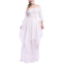 Fashion Off The Shoulder Plain Ruffle Trimmed Flare Sleeve Maxi Asymmetrical Dress