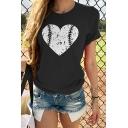 Women's New Trendy Heart Pattern Round Neck Short Sleeve Casual T-Shirt