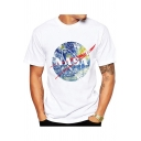 Fashion Painting NASA Letter Printed Round Neck Short Sleeve White T-Shirt