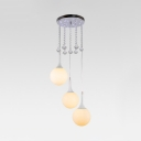 Modern Pendant Lighting Kitchen, Adjustable Ball Pendant Light Fixtures with Hanging Cord and Clear Crystal in Chrome