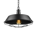 Barn Shade Single Light Pendant with Wire Cage 10