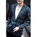 Men's Classic Plaid Pattern Long Sleeve Single Button Fitted Blazer Coat with Pockets