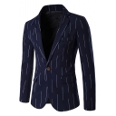 Fancy Printed Long Sleeve Notched Lapel Collar Single Button Navy Blazer Suit for Men
