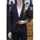 Fancy Floral Pattern Long Sleeve Notched Lapel Collar Single Button Slim Fit Blazer Prom Suit for Men