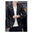 Men's Laser Plaid Pattern Slim Fit Long Sleeve Notched Lapel Collar Single Button Blazer