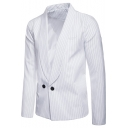 Men's Vertical Striped Pattern Shawl Collar Long Sleeve Double Button Front Casual Blazer Coat