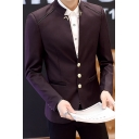 Stylish Plain Stand Up Collar Long Sleeve Button Front Patched Men's Wedding Suit for Groom