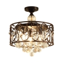 Black Drum Ceiling Pendant 3 Lights Class Clear Crystal Semi-Flush Light for Dining Room