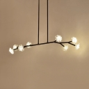Clear Glass Floral Hanging Light 8 Bulbs Modern Pendant Lighting in Black/Gold for Living Room