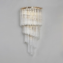 Clear Crystal Sconce 5 Lights Contemporary Wall Light Fixture in Gold for Living Room