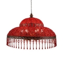 Double Bubble Dinging Room Suspended Light Red Crystal 6 Lights Vintage Pendant Lamp
