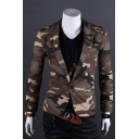 Mens Stylish Camo Printed Long Sleeve Notched Lapel Single Button Skinny Cotton Blazer