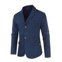 Fashionable Solid Button Front Notch Lapel Split Back Long Sleeve Mens Slim Fit Blazer Coat