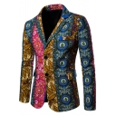 Ethnic Style Floral Printed Long Sleeve Notched Lapel Collar Double Button Split Back Mens Blazer Coat