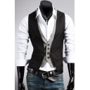 Men's Classic Plaid Printed Inside Button Down Slim Fit Cotton Black Fake Two-Piece Suit Vest