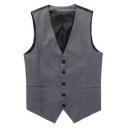 Men's Color Block Buckle Back Single Breasted Slim Fit Dark Grey Suit Vest