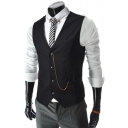 Men's Plain Single Breasted Buckle Back Chain Embellished Slim Business Suit Vest