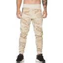 Men's Trendy Camo Printed Drawstring Waist Cotton Khaki Slim Fit Pants Sweatpants