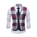 Men's Trendy Plaid Printed Single Breasted Fake Two-Piece Wedding Suit Vest for Groom