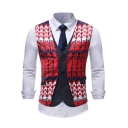 Stylish Printed Button Down Red Fake Two-Piece Suit Vest for Men