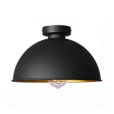 Metal Dome Ceiling Flush Light Single Light Industrial Flush Mount in Black for Foyer