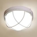 Bowl/Polygon Flush Light with Frosted Glass Single Light Modern Ceiling Lamp in White