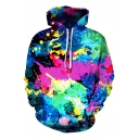 Unique Creative Oil Painting Splash Ink Print Unisex Drawstring Hoodie