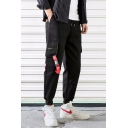 Guys Street Fashion Drawstring Waist Unique Buckle Ribbon Embellished Casual Loose Cargo Pants
